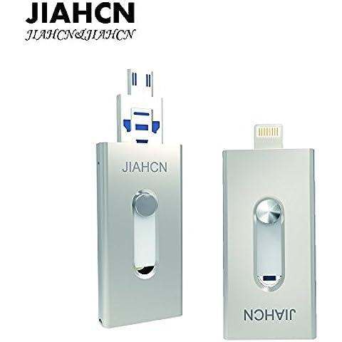 JIAHCN [Apple usb memoria] 2en1 USB Flash Drive memoria externa 16GB 32GB 64GB 128GB para Apple iPhone SE/5/5s/5c/6/6 Plus/6s/6s Plus/iPod touch 5/iPod nano 7/iPad Mini 1 2 3/ iPad 4/ Pro/ Air 1/ 2/Computadora Mac PC portátil