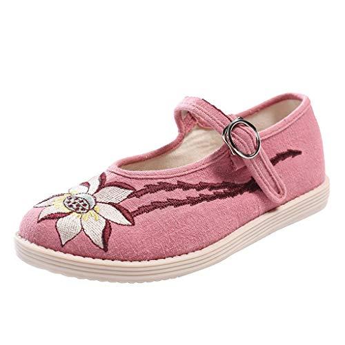 iLPM5 Damen Casual Nationalen Stil Flache Unterseite Blumenstickerei Flacher Mund Schnalle Alte Peking Tuch Schuhe Einzelne Schuhe(Pink,35) (Jungen Dressy Schuhe)