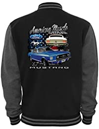 Ethno Designs - American Muscle Mustang - Hot Rod Veste College pour Femmes et Hommes - Old School Rockabilly Retro Style