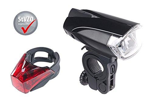 KryoLights Velolicht: LED-Fahrradlampe FL-110 & Rücklicht mit Batteriebetrieb, StVZO-zugel. (LED Fahrradbeleuchtung)