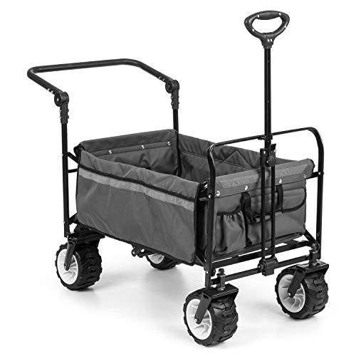Waldbeck Easy Rider • Bollerwagen • Handwagen • bis 70kg • robuster 600D Polyesterbezug • 2 Sicherheitsgurte für Kinder • Teleskop- / Schubstange • extrabreite Reifen: Edition 2.0 • grau