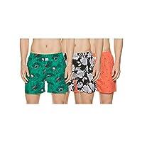 Longies Men's Printed Boxers (Pack of 3) (LGBOXPO3166_ Multicoloured_ Medium)