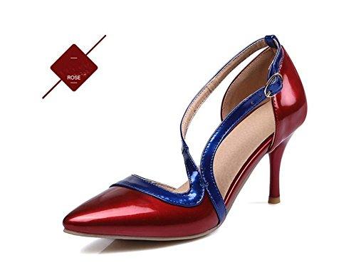 NobS Donne Sandali Degli Alti Talloni Di Piccola Dimensione 30-33 Color Matching Fibbia Scarpin Large Size 40-46 Scarpe Red
