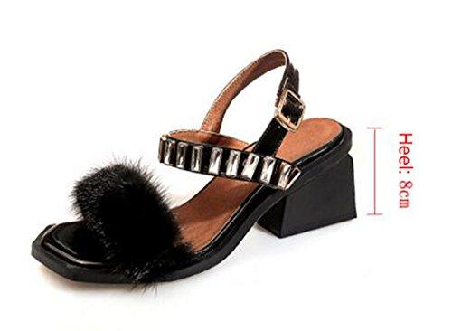 Beauqueen OL Casual Women Sandali Feather BELT Rhinestones Cinturino alla caviglia Open Toe Chunky Mid Heel Sandali UE € 34-39 Pink