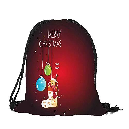 Frohe Weihnachten Weihnachten Kordelzug Binkou I, Malloom Frohe Weihnachten Süßigkeiten Tasche Satchel Rucksack Bundle Pocket Drawstring Aufbewahrungstasche