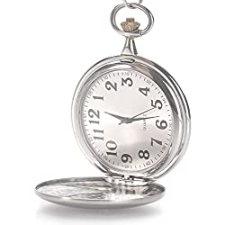 Classic Smooth Vintage Stainless Steel case Arabic Numbers Mens Pocket Watch Sliver