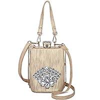Backpack Diagonal Bag Small Fashion Diamond Flower Shoulder Bag Korean Female Bag Small Square Bag Light Gold