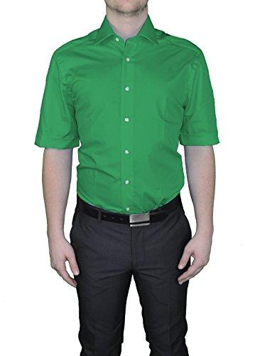 Bügelfreies Herren Kurzarm Hemd in verschiedenen Farben, Stil: BODY CUT, Marke Redmond(150910) Grün(64)