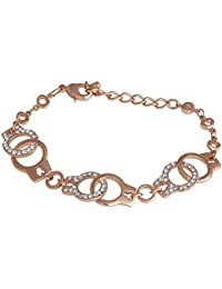 Spargz Rose Gold Plated AD Stone Party Lock Design Chain & Link Bracelets For Women AIBR_048