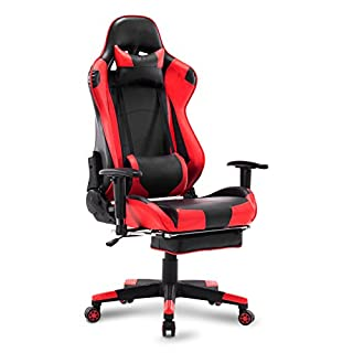 WOLTU Gaming Stuhl Racing Stuhl Bürostuhl Chefsessel Schreibtischstuhl Sportsitz mit Kopfstütze und Ledenkissen, Armlehne verstellbar, mit Fußstütze, Kunstleder, höhenverstellbar, Rot, BS14rt