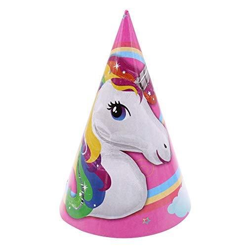 (Einhorn Party Dekoration, Kerze, Pappbecher, Hut, Teller, Masken Romantische Große Dekoration Für Kinder Geburtstag Party Decor Supplies, 6 Stück Hut)