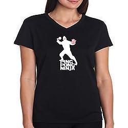 Camiseta cuello V de mujer Ping pong ninja