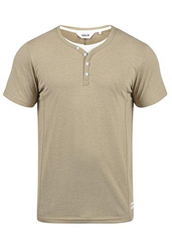!Solid Dorian Herren T-Shirt Kurzarm Shirt Mit Grandad-Kragen, Größe:M, Farbe:Sand Melange (8409)