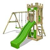 FATMOOSE Ritterburg TreasureTower Top XXL Spielturm Kinder-Spielplatz mit Schaukel und Rutsche, Sandkasten und Podest