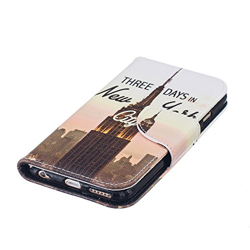 iPhone 6S Hülle,iPhone 6 Hülle,iPhone 6/6S Ledertasche Brieftasche im BookStyle,SainCat PU Leder Wallet Case Folio Schutzhülle Gemalt Muster [New York] Hülle Bumper Handytasche Skin Schale Soft Backco New York