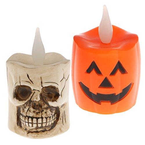 Prettyia 2 Stücke LED-Lampe Glühbirne Halloween Thema LED-Licht Kürbis und Schädel form Dekoration Licht