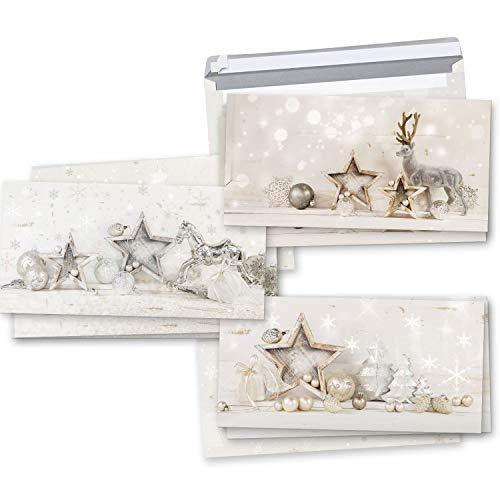 Logbuch-Verlag Weihnachtskarten SET 3 x 3 Karten weiß silber shabby chic MIT KUVERT - Grußkarten Weihnachten Weihnachtspost
