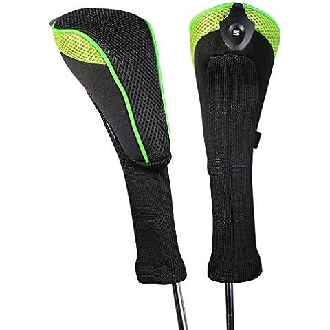 Andux 2 piezas funda de palo de golf híbridos con intercambiable No. etiqueta CTMT-01 (Green)
