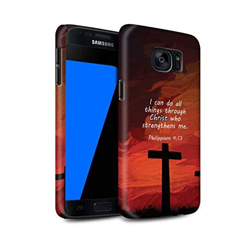 Stuff4® Matte Harten Stoßfest Hülle/Case für Samsung Galaxy S7/G930 / Christ Strengthens/Philippians Muster/Christliche Bibel Vers Kollektion
