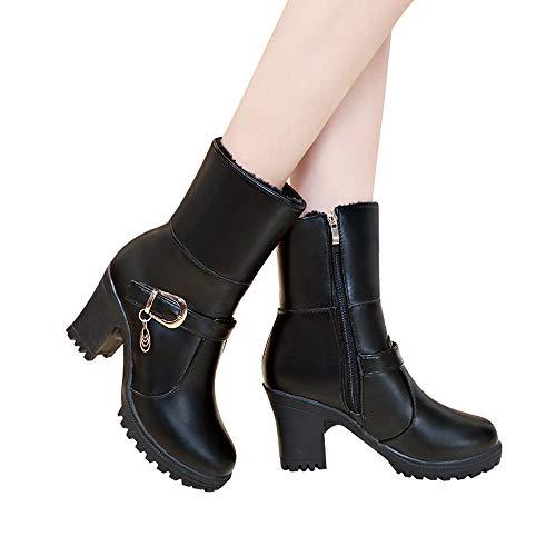 MYMYG Frauen PU Leder Ankle Boots Round Toe -