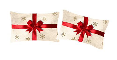 Catherine Lansfield Merry Christmas Present Standard Pillowcase Pair Gold