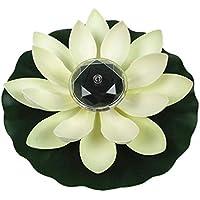 JOYKK Lámpara de Flor de Loto alimentada con energía Solar Luz de Noche Flotante Resistente al Agua para la decoración de la Fiesta en la Piscina del jardín - Blanco