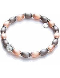 TOC Sterling Silver Rose-goldtone Satin Finish Elasticated Bead Bracelet