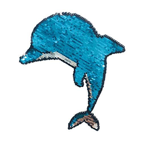 Reversible Blue Kostüm - F-blue Reversible Cartoon Sequin Kleidung Patches Tuch Patches Duel Sides Applikationen Paste Kostüm Dekorative Accessoires