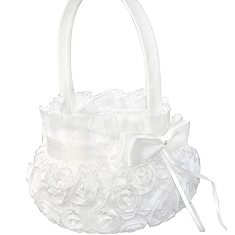 LUFA Pure White Romantic Wedding Rosette Flower Basket Flower Girl Panier pour mariage