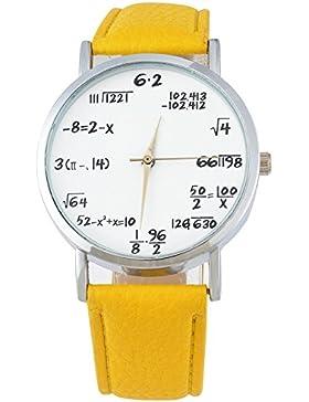 MJARTORIA Damen Armbanduhr für Studentinnen Analog Quarz Damenuhr Lederarmband Gelb 24cm