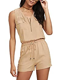 Ninimour Womens Casual Jumpsuit Drawstring Waist Rompers Shorts Loose Playsuits