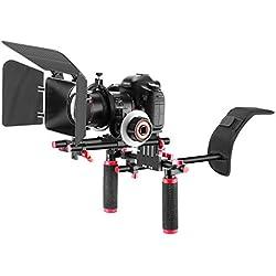 Neewer Kit de Système de Tournage de Vidéo en Alliage d'Aluminium pour Canon Nikon Sony et Autres DSLR Vidéos Caméscopes, avec: Rig d'Epaule, 15mm Tige, Follow Focus, Coupe-Flux (Rouge)