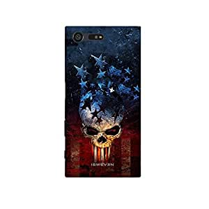 iSweven Star_Skull design printed matte finish multi-colored back case cover for Sony Xperia X Compact