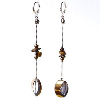 Boucles d'oreilles longues en argent sterling 925 avec pierres précieuses