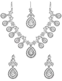 Zaveri Pearls Jewellery Set For Women (Silver) (ZPFK6379)