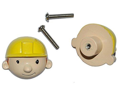 2 tlg. Set: Möbelknauf Bob der Baumeister - Möbelgriff / Möbelknopf - Kunstharz - Holz für Kinder Kinderzimmer Möbel Jungen Schränke Schubladen (Grill Schubladen)
