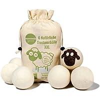 aumondo Trocknerbälle für Wäschetrockner - 6 XXL Extragroße Filzbälle aus Schafwolle, der natürliche Weichspüler. Ideal für Daunenjacken. Dryer Balls Trocknerkugeln für Daunen.
