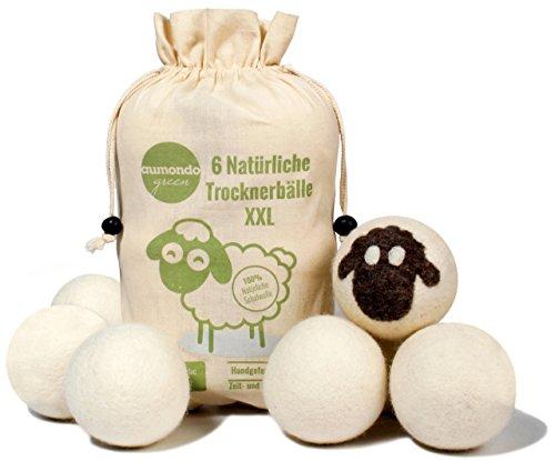 aumondo Trocknerbälle für Wäschetrockner - 6 XXL Extragroße Filzbälle aus Schafwolle, der - Tennisbälle Daunen Trockner
