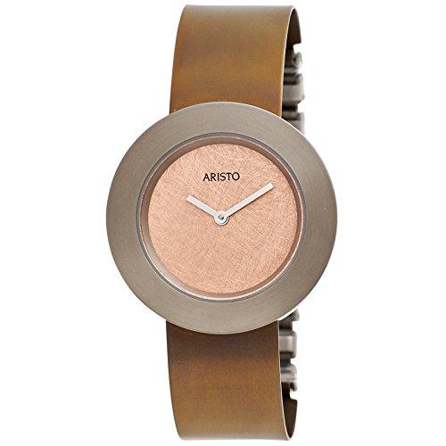 Aristo 5d93Donna Orologio da polso analogico al quarzo marrone titanio Orologio da donna