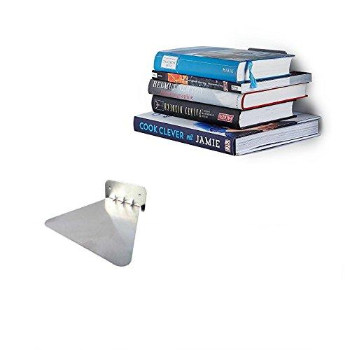 Ducomi mensola invisibile per libri - scaffale a scomparsa per arredare la vostra casa con stile ed eleganza (silver)