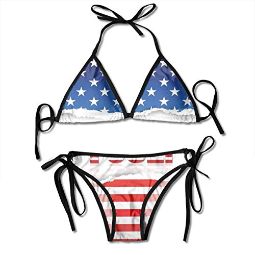 Adjustable Bikini Set Halter Ladies Swimming Costume, American Flag Old Glory Design with Stars and Stripes Pattern Patriotic Image,Halter Beach Bathing Swimwear - Old Glory American Flag