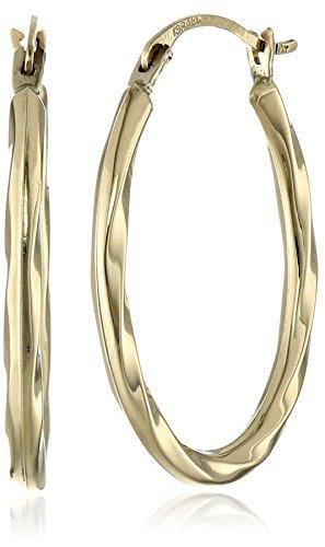 Amazon 14k Yellow Gold Oval Twist Hoop Earrings