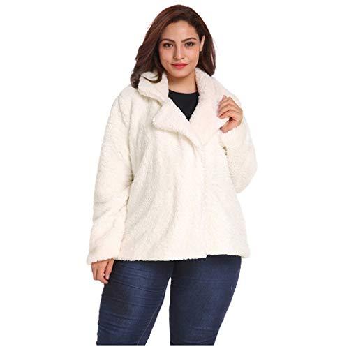 WINLISTING Frauen Winter Casual Plus Size Solid Color Outwear Revers Plüsch Jacke Mantel -