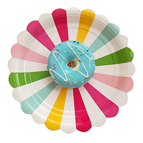 le Paper Plates Sweet Rainbow Pattern Tableware Wedding Kid'S Birthday Party Carnival Tableware Supplies,8Pcs9 Inch ()