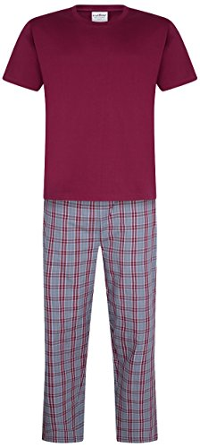 iceBoo Mens Pyjama Set Suit Pyjamas Loungewear Nightwear Sleepwear Two Piece PJ (MD403, Medium)