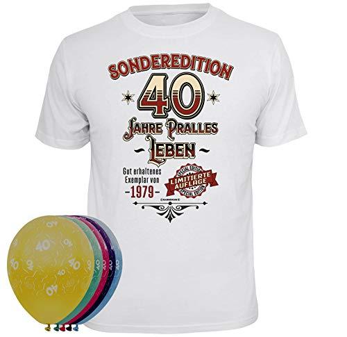 T-Shirt 5 Luftballons Sonderedition 40 Jahre pralles Leben weiss Größe XXL (Größe Leben Luftballons)