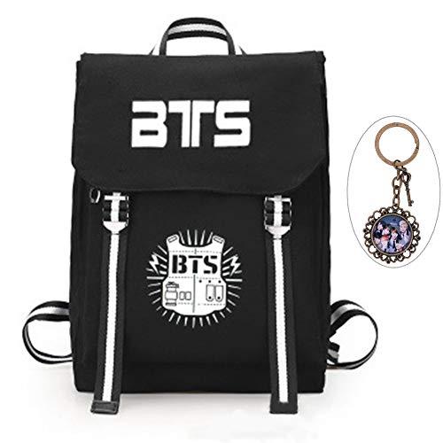 YEeyuTrwd BTS Rucksack KPOP BTS Bangtan Boys Schulranzenrucksack Laptop/Hochschule/Büchertasche BTS Album Fans Tasche mit einem Weinles Schlüsselanhänger(Black 1) -