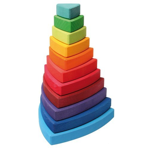 grimms-large-wooden-triangular-conical-tower-wankel-11-piece-rainbow-colored-stacker-made-in-germany