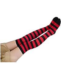 SHOBDW Mujer Moda Regalo de Navidad Elf Rayas Fancy Calcetines largos Rodilla Piernas Tubo delgado Calcetines