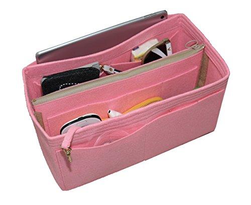 [Passt Speedy 35, Pink] Felt Organizer (mit abnehmbaren mittleren Zipper Bag), Tasche in Tasche, Wolle Geldbörse einfügen, individuelle Tote organisieren, Kosmetik Make-up Windel Handtasche